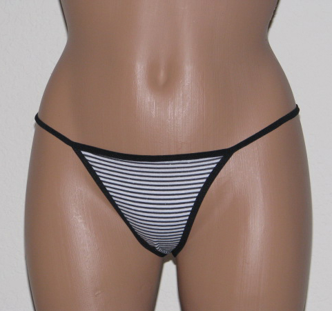 Black Striped Thong