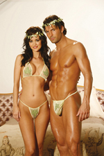 Green leaf thong and top set with motifs.