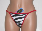 Black, White and Red Zebra Thong